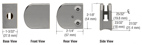 """CRL Brushed Nickel Z-Series Large Round Clamp for 3/8"""" Glass CRL Z110BN"""