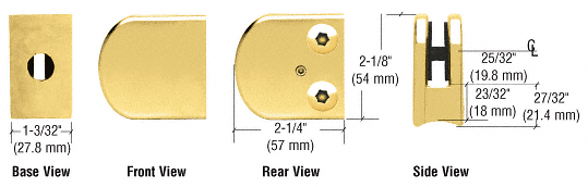 """CRL Brass Z-Series Large Round Clamp for 3/8"""" Glass CRL Z110BR"""