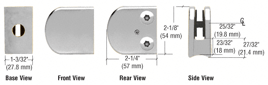 """CRL Chrome Z-Series Large Round Clamp for 3/8"""" Glass CRL Z110CH"""