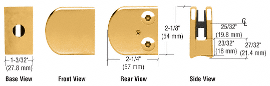 """CRL Gold Plated Z-Series Large Round Clamp for 3/8"""" Glass CRL Z110GP"""