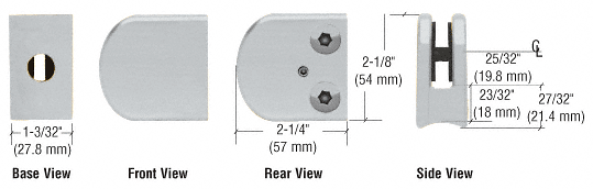 "CRL Satin Chrome Z-Series Large Round Clamp for 3/8"" Glass CRL Z110SC"