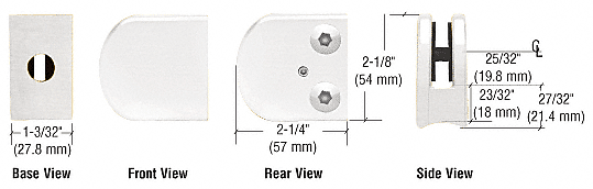 """CRL White Z-Series Large Round Clamp for 3/8"""" Glass CRL Z110W"""