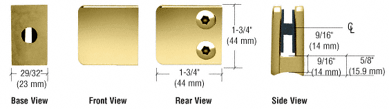 "CRL Brass Z-Series Small Square Glass Clamp for 1/4"" and 5/16"" Glass CRL Z130BR"