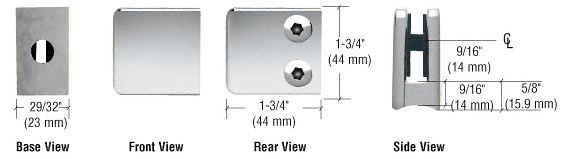 "CRL Chrome Z-Series Small Square Glass Clamp for 1/4"" and 5/16"" Glass CRL Z130CH"