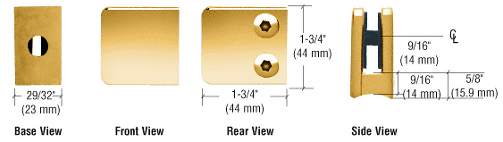 "CRL Gold Plated Z-Series Zinc Small Square Glass Clamp for 1/4"" and 5/16"" Glass CRL Z130GP"