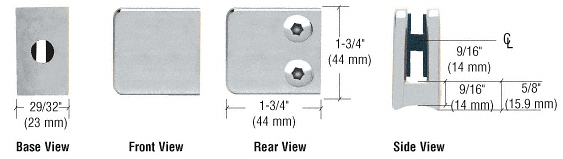 "CRL Satin Chrome Z-Series Zinc Small Square Glass Clamp for 1/4"" and 5/16"" Glass CRL Z130SC"