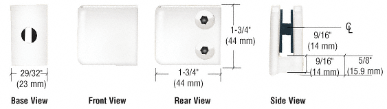 "CRL White Z-Series Small Square Glass Clamp for 1/4"" and 5/16"" Glass CRL Z130W"