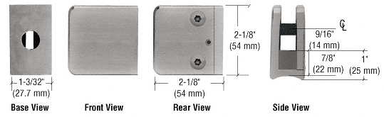 """CRL Brushed Nickel Z-Series Large Square Clamp for 3/8"""" Glass CRL Z135BN"""