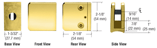 """CRL Brass Z-Series Large Square Clamp for 3/8"""" Glass CRL Z135BR"""
