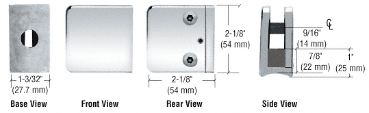 """CRL Chrome Z-Series Large Square Clamp for 3/8"""" Glass CRL Z135CH"""