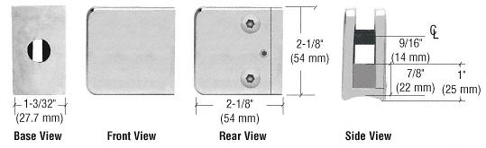 "CRL Satin Chrome Z-Series Large Square Clamp for 3/8"" Glass CRL Z135SC"