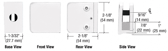 """CRL White Z-Series Large Square Clamp for 3/8"""" Glass CRL Z135W"""