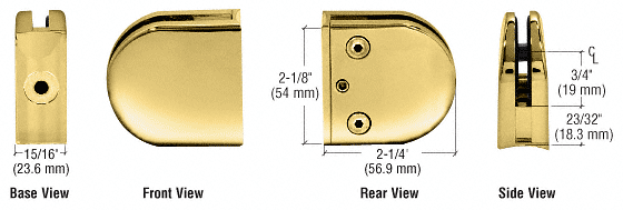 "CRL Brass Z-Series Round Type 2"" Radius Base Clamp for 1/4"" and 5/16"" Glass CRL Z206BR"