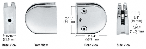 "CRL Chrome Z-Series Round Type 2"" Radius Base Clamp for 1/4"" and 5/16"" Glass CRL Z206CH"
