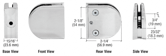 "CRL Satin Chrome Z-Series Round Type 2"" Radius Base Clamp for 1/4"" and 5/16"" Glass CRL Z206SC"