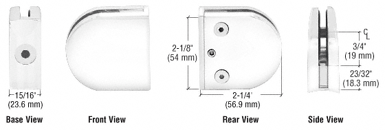"CRL White Z-Series Round Type 2"" Radius Base Clamp for 1/4"" and 5/16"" Glass CRL Z206W"