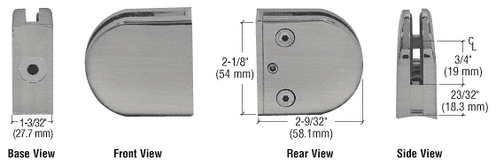 "CRL Brushed Nickel Z-Series Round Type 2"" Radius Base Zinc Clamp for 3/8"" Glass CRL Z210BN"