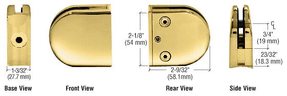 "CRL Brass Z-Series Round Type 2"" Radius Base Zinc Clamp for 3/8"" Glass CRL Z210BR"