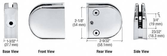 "CRL Chrome Z-Series Round Type 2"" Radius Base Zinc Clamp for 3/8"" Glass CRL Z210CH"