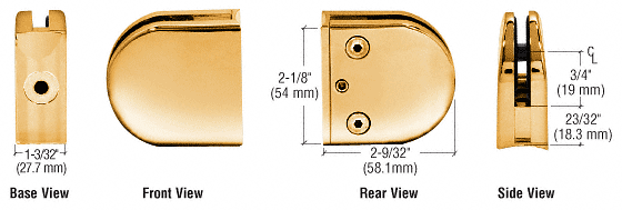 """CRL Gold Plated Z-Series Round Type 2"""" Radius Base Zinc Clamp for 3/8"""" Glass CRL Z210GP"""