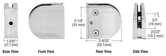 "CRL Satin Chrome Z-Series Round Type 2"" Radius Base Zinc Clamp for 3/8"" Glass CRL Z210SC"