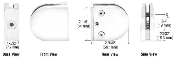 "CRL White Z-Series Round Type 2"" Radius Base Zinc Clamp for 3/8"" Glass CRL Z210W"