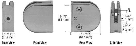 "CRL Brushed Nickel Z-Series Round Type Radius Base Zinc Clamp for 1/2"" Glass CRL Z212BN"