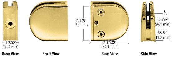 "CRL Brass Z-Series Round Type 2"" Radius Base Zinc Clamp for 1/2"" Glass CRL Z212BR"
