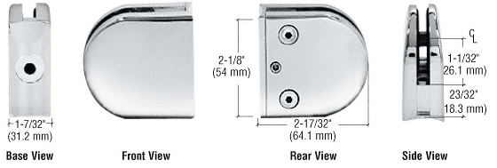 "CRL Chrome Z-Series Round Type 2"" Radius Base Zinc Clamp for 1/2"" Glass CRL Z212CH"