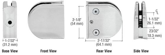 "CRL Satin Chrome Z-Series Round Type 2"" Radius Base Zinc Clamp for 1/2"" Glass CRL Z212SC"