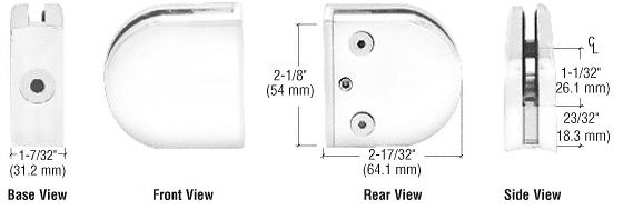"CRL White Z-Series Round Type 2"" Radius Base Zinc Clamp for 1/2"" Glass CRL Z212W"