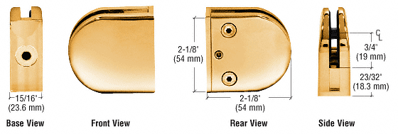 "CRL Gold Plated Z-Series Round Type Flat Base Zinc Clamp for 1/4"" and 5/16"" Glass CRL Z406GP"