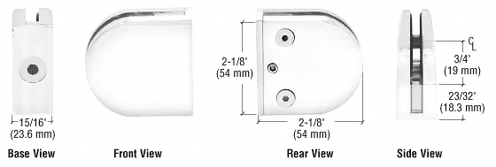 "CRL White Z-Series Round Type Flat Base Zinc Clamp for 1/4"" and 5/16"" Glass CRL Z406W"
