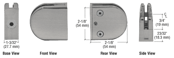 """CRL Brushed Nickel Z-Series Round Type Flat Base Zinc Clamp for 3/8"""" Glass CRL Z410BN"""