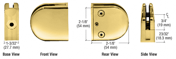 "CRL Brass Z-Series Round Type Flat Base Zinc Clamp for 3/8"" Glass CRL Z410BR"