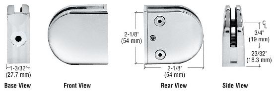 "CRL Chrome Z-Series Round Type Flat Base Zinc Clamp for 3/8"" Glass CRL Z410CH"