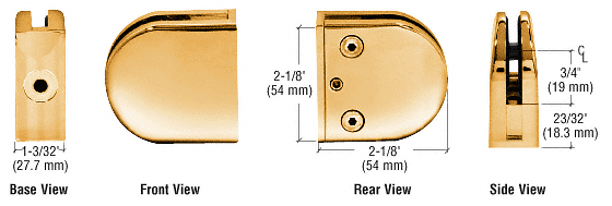 """CRL Gold Plated Z-Series Round Type Flat Base Zinc Clamp for 3/8"""" Glass CRL Z410GP"""