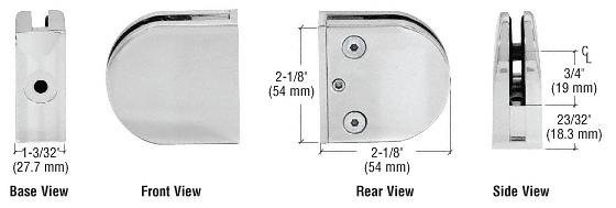 "CRL Satin Chrome Z-Series Round Type Flat Base Zinc Clamp for 3/8"" Glass CRL Z410SC"