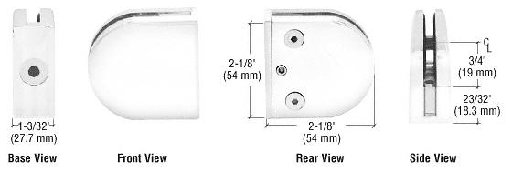 "CRL White Z-Series Round Type Flat Base Zinc Clamp for 3/8"" Glass CRL Z410W"