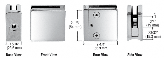 "CRL Chrome Z-Series Square Type Radius Base Zinc Clamp for 1/4"" and 5/16"" Glass CRL Z606CH"