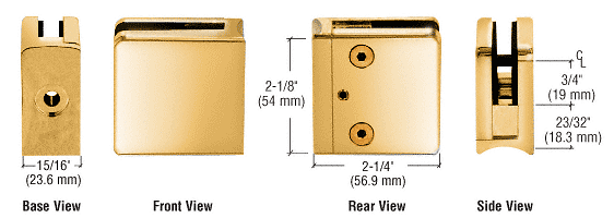 "CRL Gold Plated Z-Series Square Type Radius Base Zinc Clamp for 1/4"" and 5/16"" Glass CRL Z606GP"