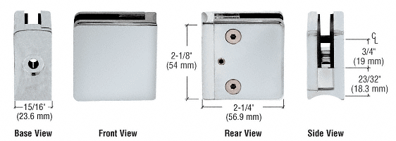 "CRL Satin Chrome Z-Series Square Type Radius Base Zinc Clamp for 1/4"" and 5/16"" Glass CRL Z606SC"