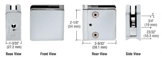 "CRL Satin Chrome Z-Series Square Type Radius Base Zinc Clamp for 3/8"" Glass CRL Z610SC"
