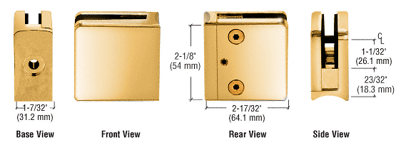 "CRL Gold Plated Z-Series Square Type Radius Base Zinc Clamp for 1/2"" Glass CRL Z612GP"