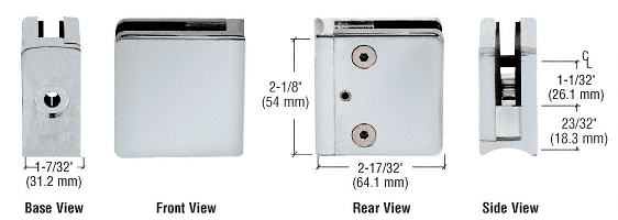 "CRL Satin Chrome Z-Series Square Type Radius Base Zinc Clamp for 1/2"" Glass CRL Z612SC"