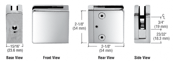 """CRL Chrome Z-Series Square Type Flat Base Zinc Clamp for 1/4"""" and 5/16"""" Glass CRL Z806CH"""