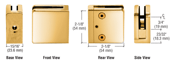 """CRL Gold Plated Z-Series Square Type Flat Base Zinc Clamp for 1/4"""" and 5/16"""" Glass CRL Z806GP"""