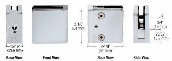 """CRL Satin Chrome Z-Series Square Type Flat Base Zinc Clamp for 1/4"""" and 5/16"""" Glass CRL Z806SC"""