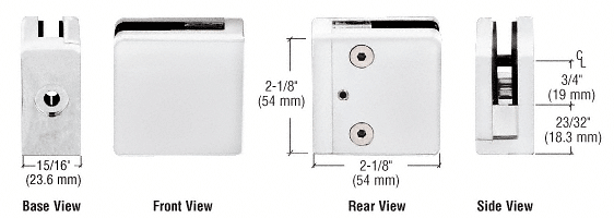 """CRL White Z-Series Square Type Flat Base Zinc Clamp for 1/4"""" and 5/16"""" Glass CRL Z806W"""