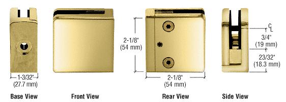 "CRL Brass Z-Series Square Type Flat Base Zinc Clamp for 3/8"" Glass CRL Z810BR"